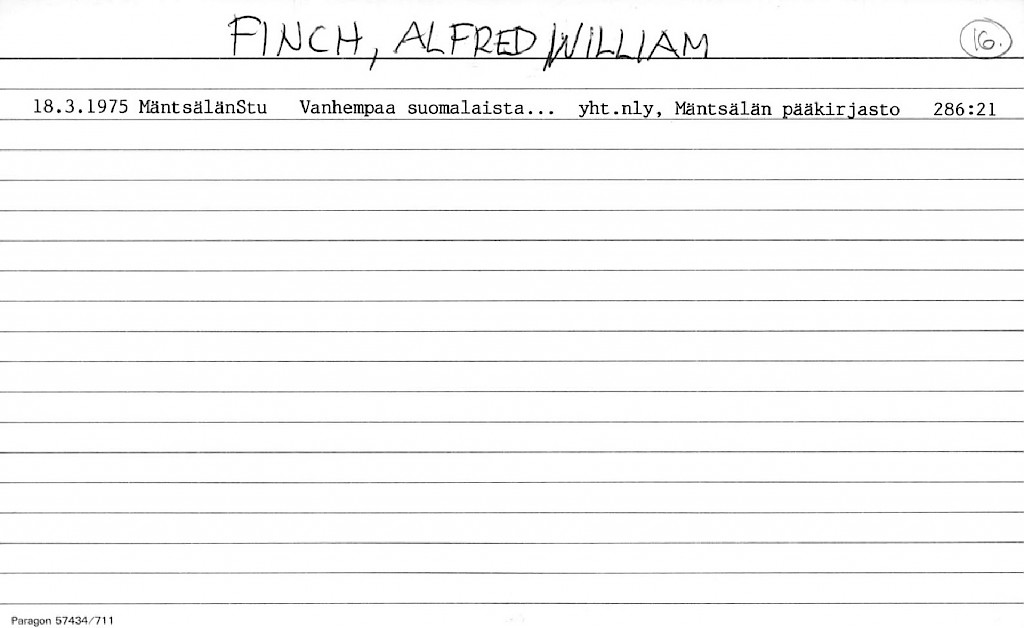 Finch, Alfred William