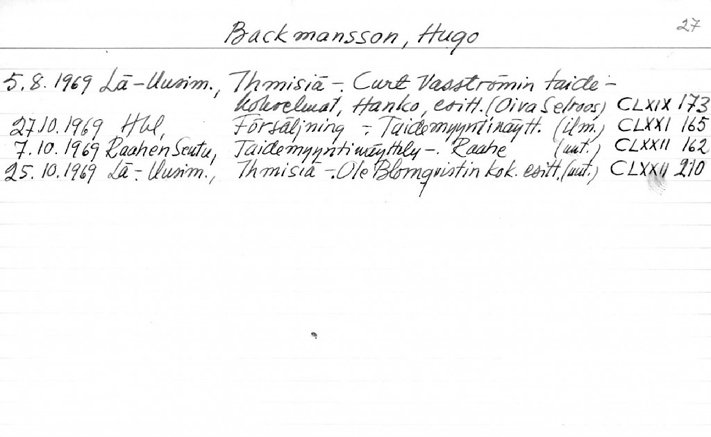 Backmansson, Hugo